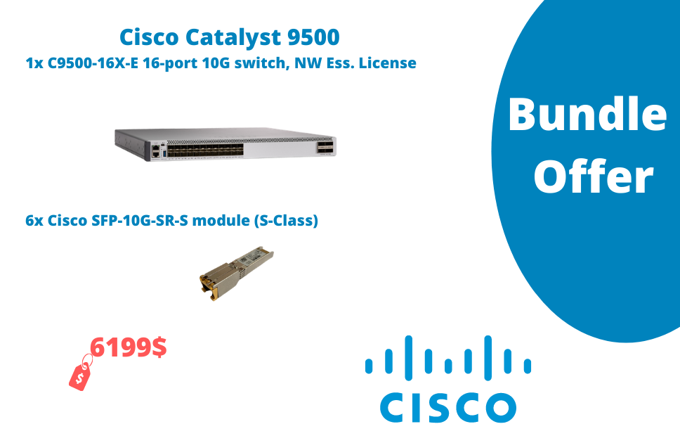 1x C9500-16X-E 16-port 10G switch, NW Ess. License