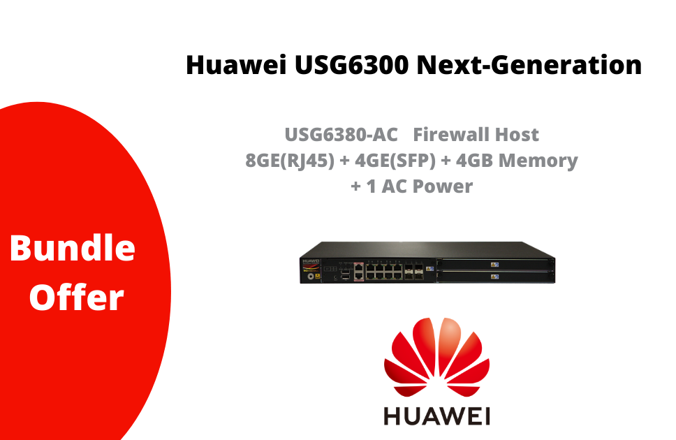 USG6380-AC   Firewall Host 8GE(RJ45) + 4GE(SFP) + 4GB Memory + 1 AC Power